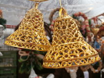 Golden Christmas bells Royalty Free Stock Photography