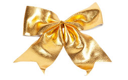 Golden Christmas bow Stock Image