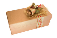 Golden Christmas box Royalty Free Stock Images