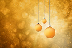 Golden Christmas bulbs set background Stock Images