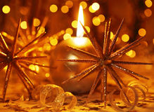 Golden Christmas candle Royalty Free Stock Images
