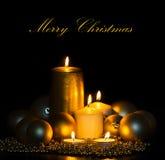 Golden Christmas Candles Stock Photo