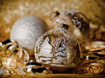 Golden Christmas Card. Gold and White Christmas decorations perfect for a Christmas card Royalty Free Stock Photos
