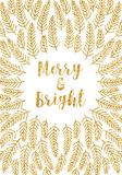 Golden Christmas card merry and bright Stock Photo