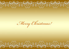 Golden Christmas card seamless border with swirly pattern Stock Photos