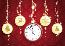 Golden Christmas 5 Circles Clock 2017 Red Ornaments Royalty Free Stock Photos