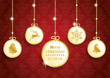Golden Christmas 5 Circles Red Ornaments Stock Images