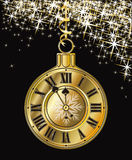 Golden Christmas clock. Vector illustration royalty free illustration