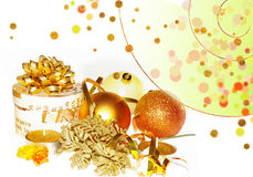 Golden Christmas composition Stock Photography