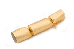 Golden christmas cracker Royalty Free Stock Image