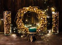 Golden Christmas decor Stock Images