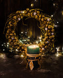 Golden Christmas decor Stock Image
