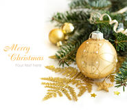 Golden Christmas decor stock photo
