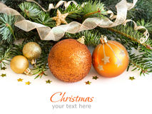 Golden Christmas decor Royalty Free Stock Images
