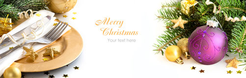 Golden Christmas decor Stock Images
