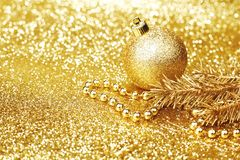 Golden christmas decor Stock Image