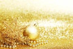 Golden christmas decor Stock Photos
