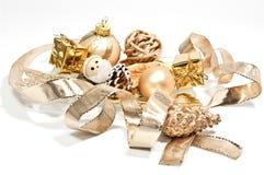 Golden christmas decoration. On white Stock Photos