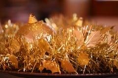 Golden Christmas decoration. Close up Stock Photos