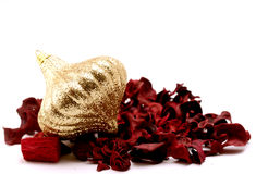 Golden Christmas decoration. On withe background Stock Photography