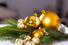 Golden Christmas decoration background Royalty Free Stock Photography