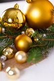 Golden Christmas decoration background Royalty Free Stock Images