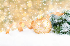 Golden christmas decoration balls Stock Photography