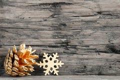 Golden Christmas Decoration on Black White Stock Photo