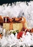 Golden Christmas decoration box Royalty Free Stock Photos