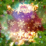 Golden Christmas decoration and copyspace. EPS 10 Royalty Free Stock Image