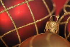 Golden christmas decoration on festivered backgrou Stock Photos