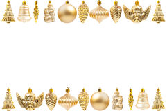 Golden Christmas decoration frame Stock Photos