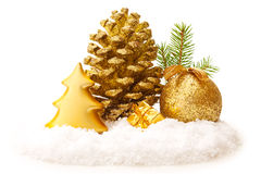 Golden Christmas decoration. Royalty Free Stock Photos
