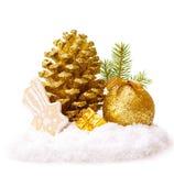 Golden Christmas decoration. Stock Photos