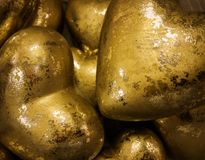 Golden Christmas decoration. Many Golden Christmas decoration elements in macro royalty free stock photography