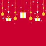 Golden Christmas decoration on red background Royalty Free Stock Images