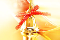 Golden Christmas decoration on shiny background. Holiday backgro Stock Images