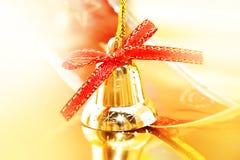 Golden Christmas decoration on shiny background. Holiday backgro Stock Images