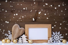 Golden Christmas Decoration, Snow, Copy Space, Snowflakes Royalty Free Stock Images