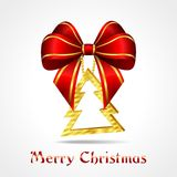 Golden christmas decoration - tree with red ribbon Stock Photo