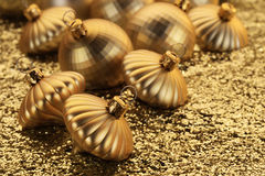 Golden Christmas Decorations Royalty Free Stock Photos