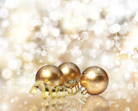 Golden Christmas decorations Stock Photo