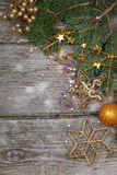 Golden Christmas decorations Stock Photo