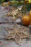 Golden Christmas decorations Stock Image