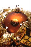 Golden christmas decorations. Christmas decorations theme in golden colors Stock Photos