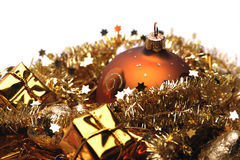 Golden christmas decorations. Christmas decorations theme in golden colors Stock Images