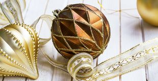 Festive golden Christmas decorations Royalty Free Stock Photo