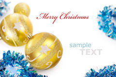 Golden christmas decorations frame. Isolated on white background with copy space for text Stock Photos
