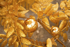 Golden Christmas Decorations Stock Images