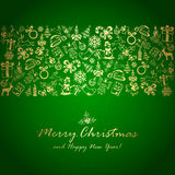 Golden Christmas decorations on green background. Holiday decorations with golden Christmas elements on green background, illustration Royalty Free Stock Photography